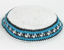 White Knit Kippot with light blue and black border